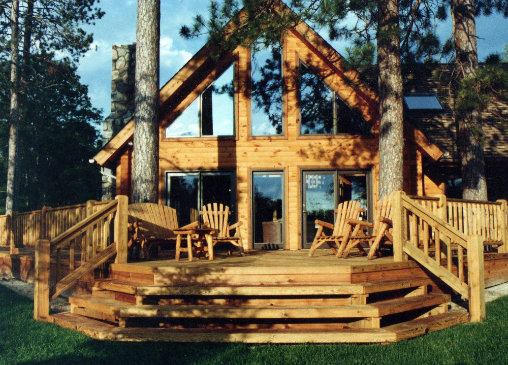 Classic a frame with perfect porch the log builders for A frame log homes