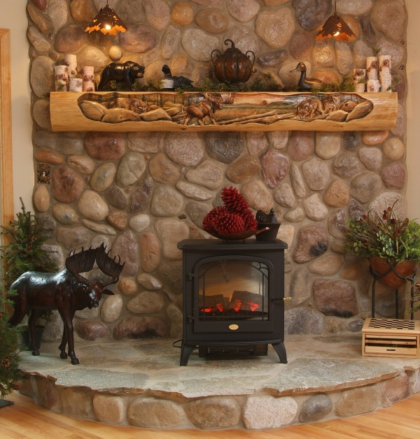 Hand carved mantels the log builders Decorative hearth