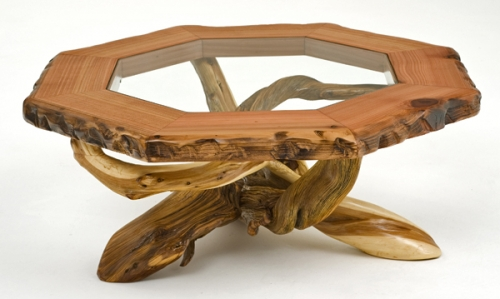 Redwood and Juniper Coffee Table with Inlaid Glass