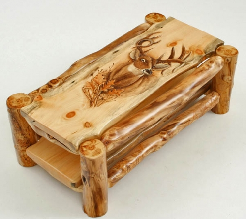 Carved Log Coffee Table