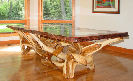 Live Edge Dining Table With Redwood Top And