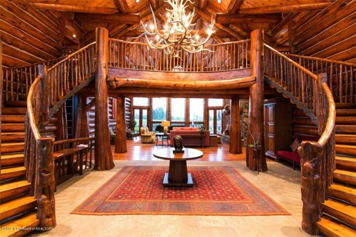 Majestic Log Home Staircase