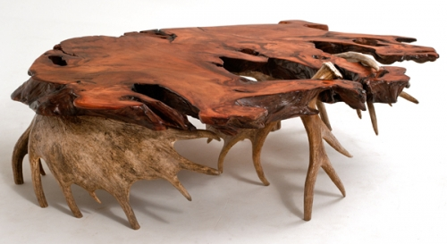 Live Edge Redwood Slab Coffee Table with Moose Antler Base