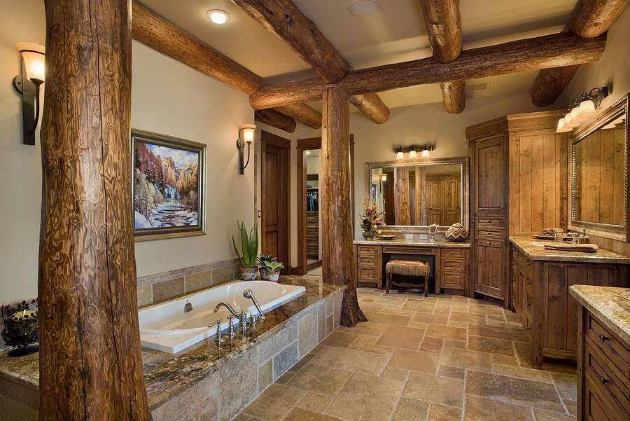 Gorgeous interior bathroom the log builders for Log cabin bathroom pictures