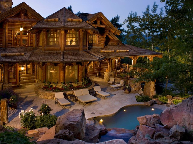 Which word best describes this luxury log home the log for Luxury rustic homes