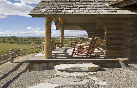Rustic Log Country Cabin Porch View The Builders